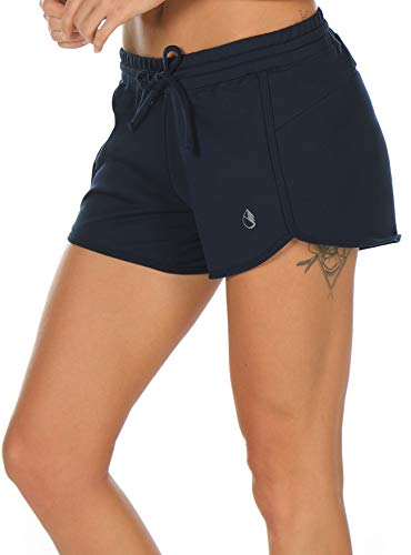 icyzone Athletic Lounge Shorts for Women - Running Jogging Workout Cotton Sweat Shorts (L, - Shorts Running Cotton