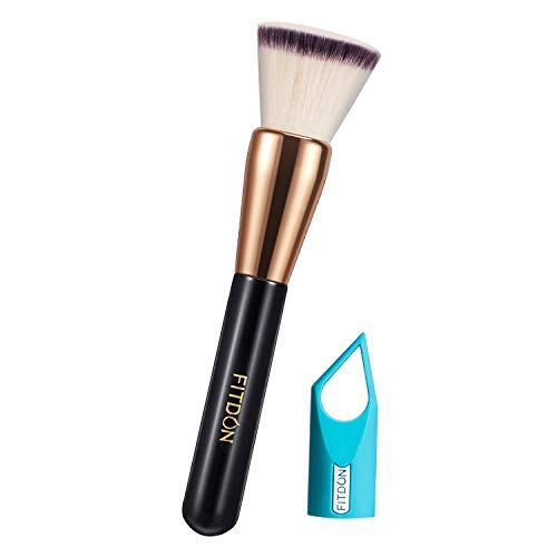 Foundation Makeup Brush, FITDON Flat Top Kabuki Brush for Face Blending Liquid, Cream or Flawless Powder Cosmetics, Buffing, Stippling, Concealer with Makeup tool Dryer Hanger