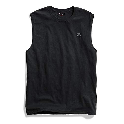 Sleeveless T-shirt Patch - Champion Men's Classic Jersey Muscle T-Shirt, Black, XL