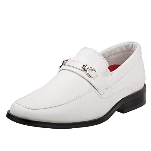 Joseph Allen Boys Slip On Dress Shoe with Metal Embellishment, White, 8 M US Big -