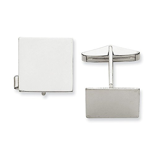 14K White Gold Square Cuff Links by CoutureJewelers