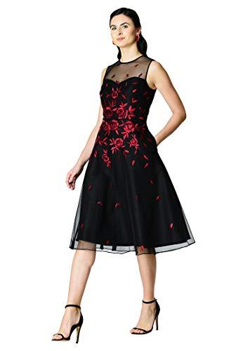 eShakti FX Illusion Tulle Rose Embellished Dupioni Dress Black/red/Wine