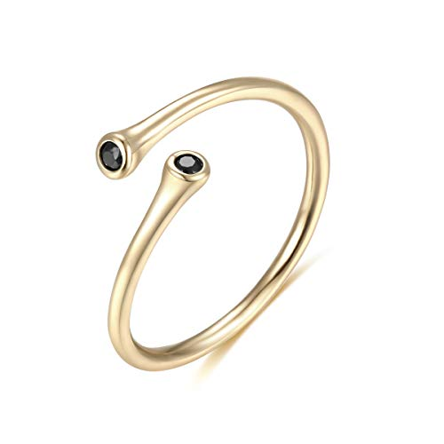 Womens 14k Gold Open Parallel Bar Rings,Double X Criss Cross Double Bar Parallel Cuff Half Circle Black Zircon Infinity Adjustable Ring Engagement Wedding Lady Girls Band(Ring-CZ-6)