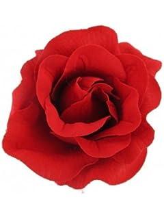 543687dc66 Large Big Red Rose Flower Hair Clip Bridal Fork Clip Rockabilly 50s ...