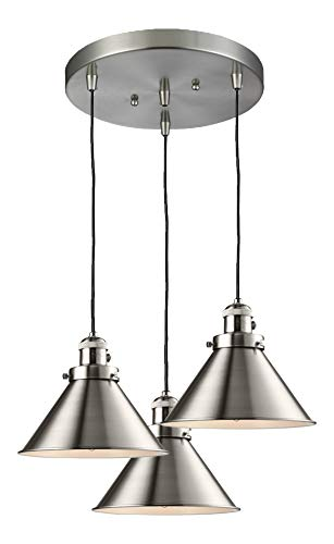(3 Light Adjustable Cord Pan Chandelier with Metal Shades)