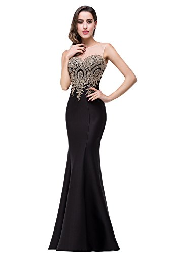 Elegant Long Evening Dress Floor-Length Lace Sleeveless Party Prom Dress,Black,6