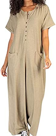 SHOPESSA Womens Rompers for Summer Short Sleeve Flare Leg Jumpsuits for Women Casual 1 Piece Linen Overalls