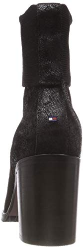 Black Hilfiger Femme Bottines Shiny Bottes Heeled Knitted 990 Souples Boot Noir Sock Tommy et 4gw7nx7