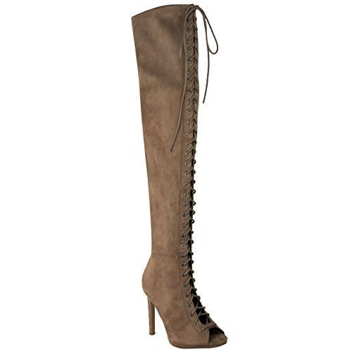 Thigh Faux UP Heels High Mocha Womens Knee Fashion Suede Size Over Stilettos Lace The Brown Thirsty Sexy Boots Ladies 4nqTw0Rq