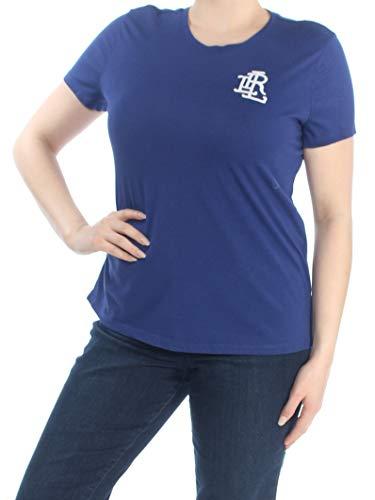 LAUREN RALPH LAUREN Womens Beaded Crew Neck Logo T-Shirt Blue XL