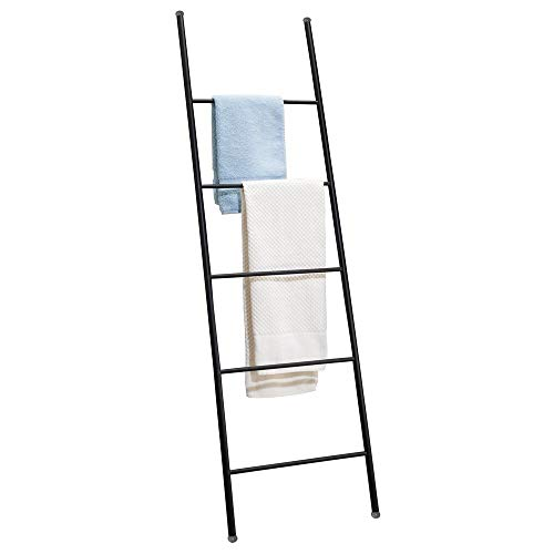 mDesign Metal Free Standing Bath Towel Bar Storage Ladder - Holds Towels, Blankets, Clothes and Magazines/Newspapers - 5 Levels - Matte Black ()