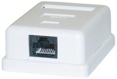 C&E Cat6 Single Jack Surface Mount Box Female Unshielded, White (CNE43767)