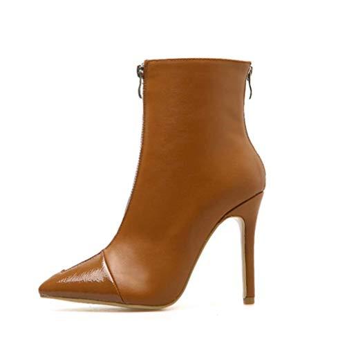 Brown Da Front Corti Heels Inverno Boots Autunno Mesh Inner New Stiletto Donna Stivali Zipper Shiney qXE5w65
