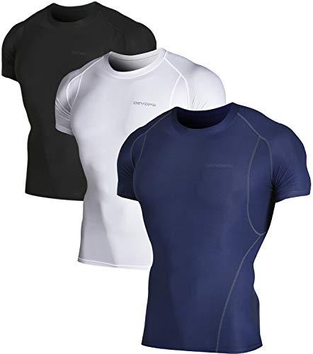 DEVOPS 2~3 Pack Men's Athletic Short Sleeve Compression Shirts