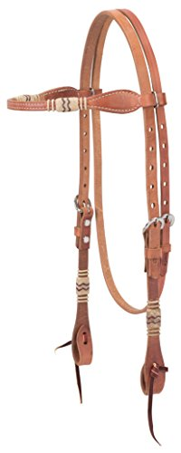 - Weaver Leather Harness Leather Browband Headstall with Rawhide Accents