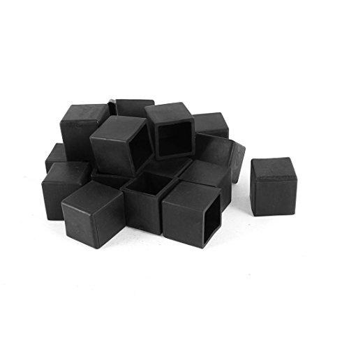 Square Rubber Foot Covers Protectors 20mm x 20mm 20Pcs Black