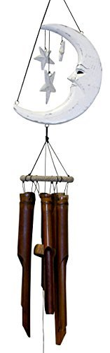 Cohasset Gifts 179W Cohasset Crescent Moon and Stars Bamboo Wind Chime, Distressed White Finish