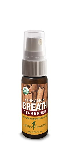 Sweet Breath Spray - Herb Pharm Refresher Organic Herbal Fresh Breath Spray, Cinnamon, 0.47 Ounce