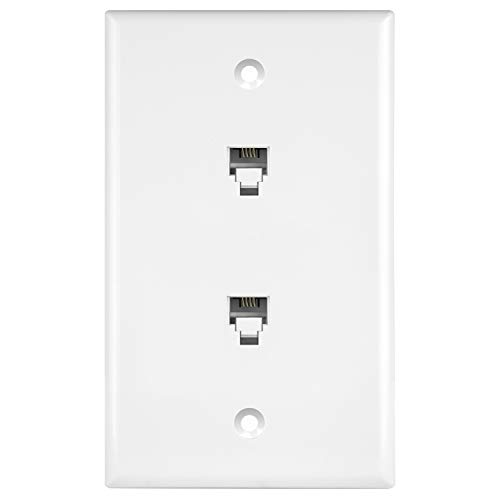 (ENERLITES 6651-W Duplex Phone Jack Wall Plate 1 Gang 2 Modular with 6-Position 4-Conductor RJ11, White)