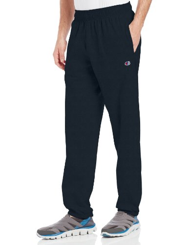 Champion Men's Closed Bottom Light Weight Jersey Sweatpant, Navy, - Sweatpant Open Bottom Heavyweight
