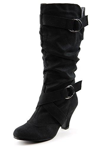 CC Maggie-38 Women Knee High Kitty Heels Wide Shaft Boots (5.5, ()