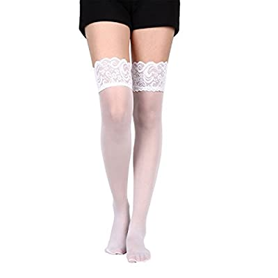 Yolev Women's Lace Silicone Top Sheer Thigh High Stockings
