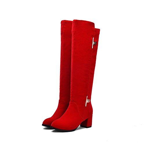 VogueZone009 Damen Hoch Spitze Ziehen auf Mattglasbirne Mittler Absatz Rund Zehe Stiefel Rot