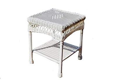 Amazon Com Tortuga Outdoor Portside Wicker Side Table White