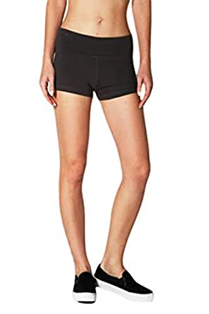Yoga Athletic Fitness Shorts with Contrast Color Fold Over Waist, Junior Sizes S-M-L, 7 Colors. 92% Cotton 8% Lycra Spandex