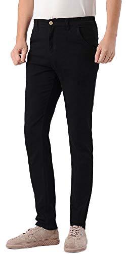 Plaid&Plain Men's Skinny Stretchy Khaki Pants Colored Pants Slim Fit Slacks Tapered Trousers 819 Black 29X30 (Men Slacks Black Fitted)