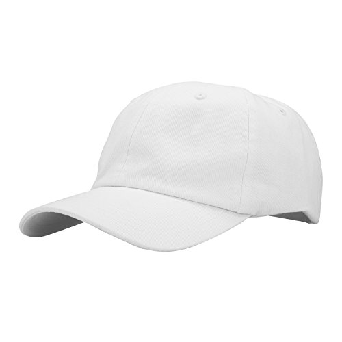 PT FASHIONS 100% Cotton Dad Hat Unisex Washed Twill Cotton Baseball Cap Low Profile Polo Style Unconstructed-01white (Cotton Twill Beanie)