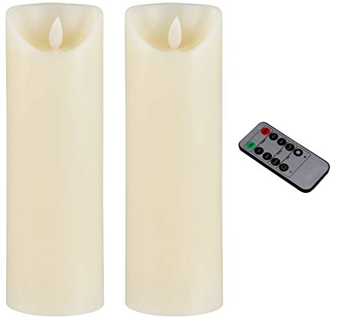 Flameless LED Candle - 2-Pack Flickering Motion 9-Inch Battery Operated and Remote Controlled On Off with Timer, Real Wax, Decorative Ivory Pillar Candle Design, 3 x 9 Inches ()