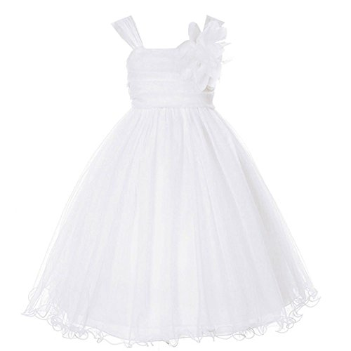 - Kids Dream Big Girls' Special Occasion Double Layer Mesh Dress, 14, White
