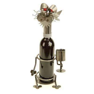 Wine Holders Yardbirds - Drinking Cat Wine Holder Yardbirds by Richard Kolb
