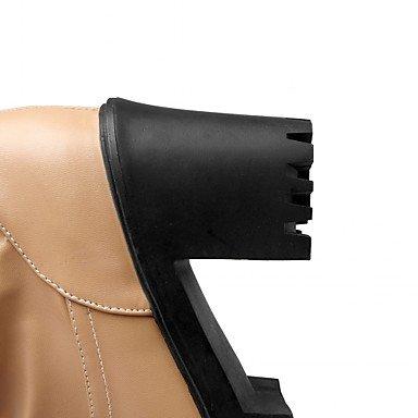 Heart&M Mujer Zapatos Semicuero Primavera Invierno Botas Camperas Botas de Moda Botas Tacón Robusto Dedo redondo Botines Hasta el Tobillo Lunares almond