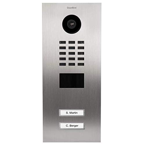 (DoorBird IP Video Door Station Flush-mounted, Brushed Stainless Steel Call buttons Multi Tenants - Access Control- POE Capable (Stainless Steel/2 Call Buttons))