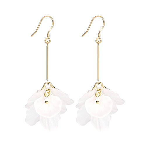 (Merdia Dangle Earrings for Women Sterling Silver Pin Synthetic Resin Petals Drop Earring)