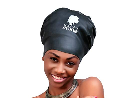 Happy Mane Extra Large Silicone Swim Cap Swimming Shower Cap Designed Braids, Long Hair Dreadlocks, Extensions Afro Hair Men Women Youth Child Keeps Hair Clean Dry (XL Black)
