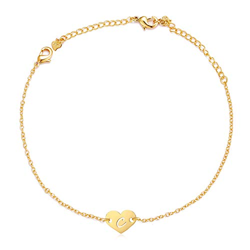 Long tiantian Initial Alphabet A to Z Charm Heart Anklet for Women Gold Tiny Love Letter Bracelet BFF Gifts Jewelry for Girls (C-Bracelet/Anklet) ()