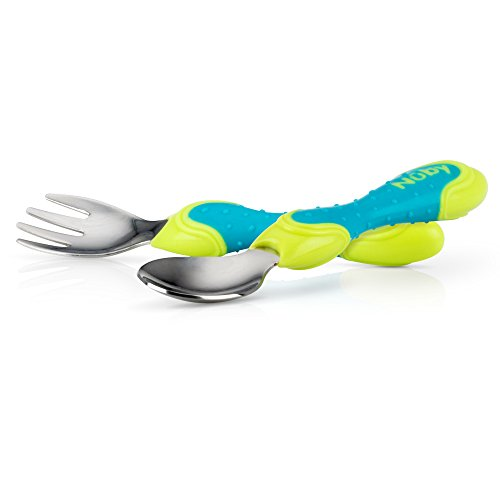 Nuby 2 Piece Stainless Steel Utensil, Blue/Green