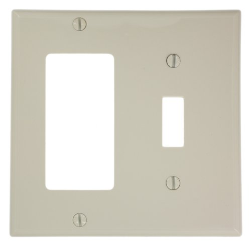 Leviton 80707-T 2-Gang 1-Toggle, 1-Decora/GFCI, Device Combination Wallplate, Light Almond