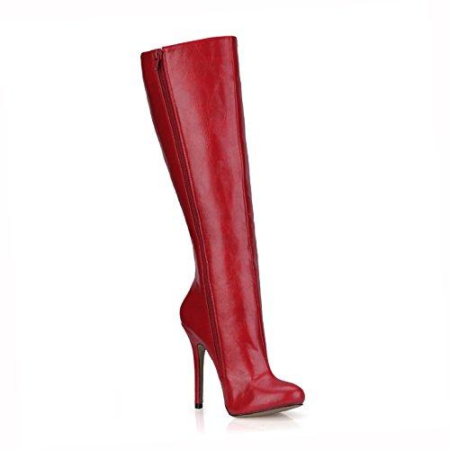 Tierra Señoras En Roja Moda Femenina Redonda Cabeza De Rojo Botas Una Productos Red Tacones Nuevos Wine Imitated Invierno Código Altas Boot Leather Altos qzAw8g
