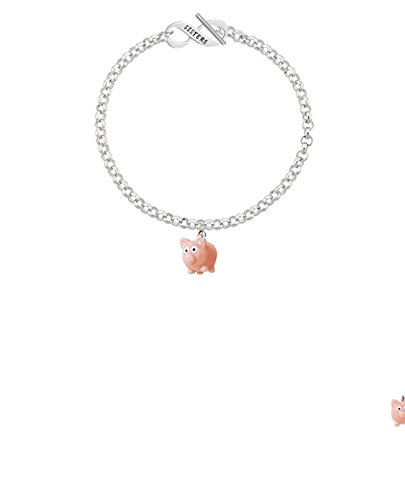 8 Resin Pink Pig Sisters Infinity Toggle Chain Bracelet