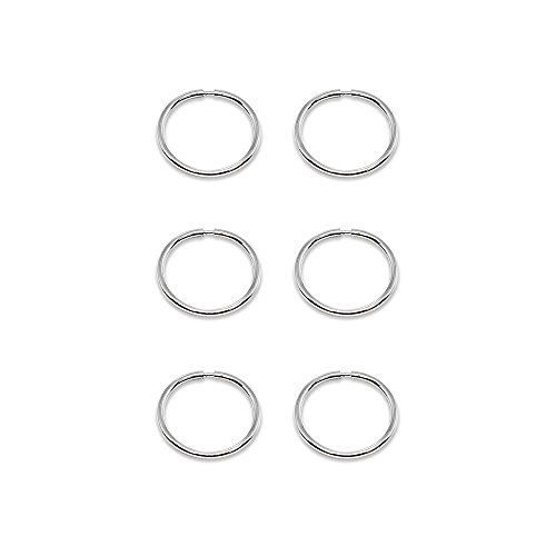 14K White Gold Tiny Small Endless 10mm Thin Round Lightweight Unisex Hoop Earrings, Set of 3 Pairs ()