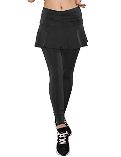 ts Skirted Leggings Yoga Skirts with Spandex Tights Athletic Tennis Skorts Gym Active Running Bottoms Moisture Wicking Fashion Solid Black Size XL (Athletic Womens Walker)