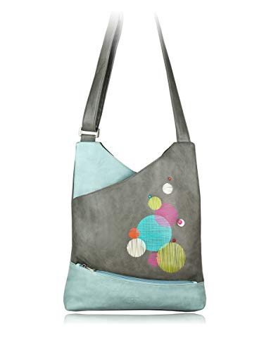 ESPE Shadie Two Tone Whimsical Vegan Leather Large Hobo Style Shoulder Handbag