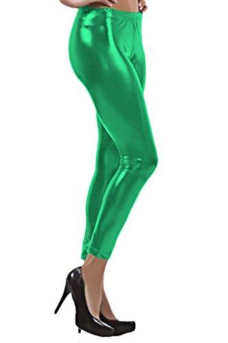 Marvoll Women's Shiny Wet Liquid Look Metallic Stretch Leggings Tights Pants (Large, Green) (Plus Size Female Superhero Costumes)