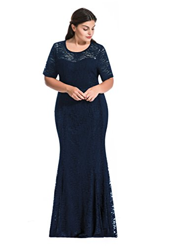 Myfeel Women Plus Size Lace Ruched Empire Waist Sweetheart Mermaid Fishtail Cocktail Evening Dress or Wedding