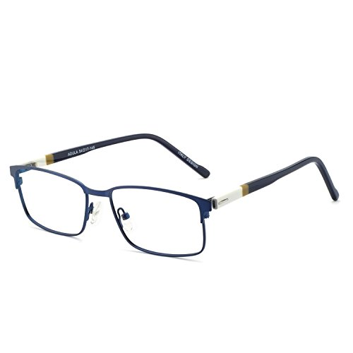 OCCI CHIARI Rectangle Full-Rim Metal Optical Glasses Acetate Arm For Bussiness Men (Blue/Grey, - Full Metal Eyeglasses Frames Rim