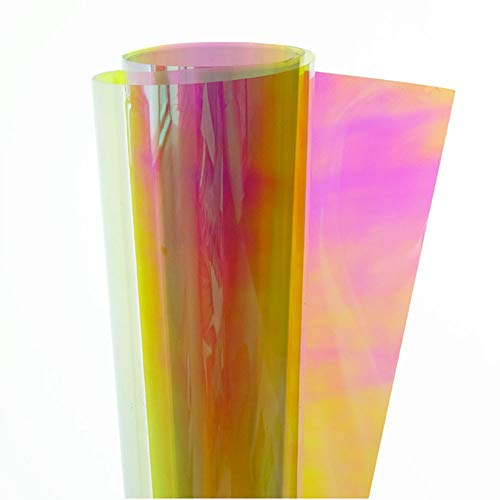 "HOHOFILM 54""x20"" Rainbow Effect Iridescent Window Film Decorative Glass Sticker Chamelon Color Self-Adhesive"